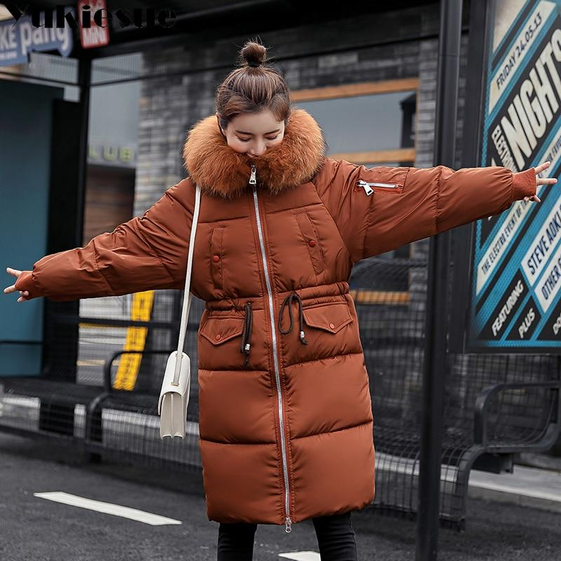 077f839b56e Warm Big Fur Hooded Quilted Coat Winter Jacket Woman 2018 Fashion Solid  Color Zipper Down Cotton
