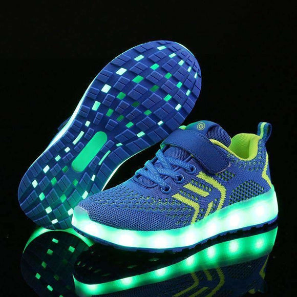 Warm Like Home New 25-37 Usb Charger Glowing Sneakers Led Children Lighting Shoes Boys/girls Illuminated Luminous Sneaker Warm Like Home