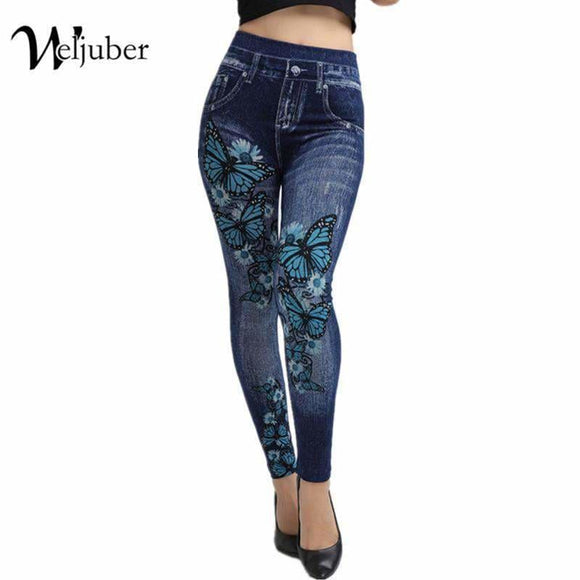 Weljuber Women Leggings Autumn Jeans Leggings Slim Mock Pocket Woman Print Jeggings Ladies Denim Skinny Trousers Apparel & Accessories >