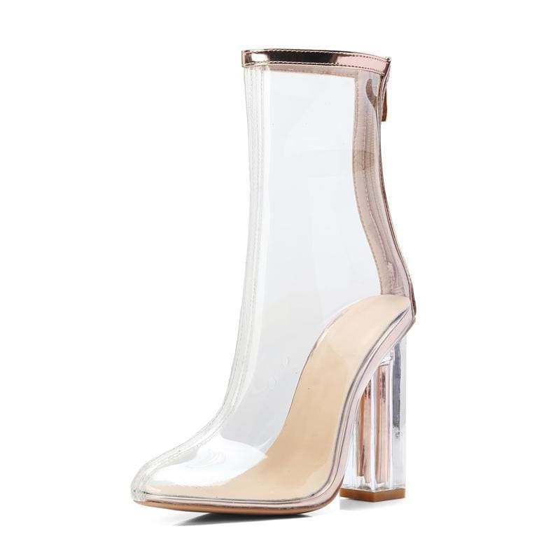 0640fb2b383a Wen Ugly Womens Ankle Boots Transparent Shoes Crystal With Winter Boots  Botines Mujer Autumn Fashion 11Cm High Heel Boots - Zodeys