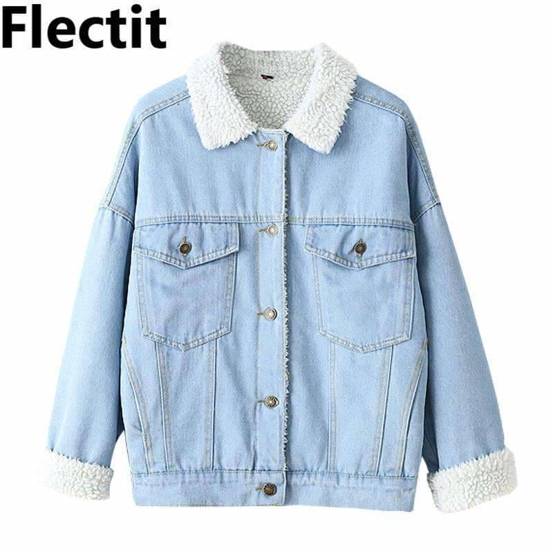 82af014a754 Winter Fur Denim Jacket Women Bomber Jacket Washed Blue Jeans Jacket Coat  With Full Warm Lining