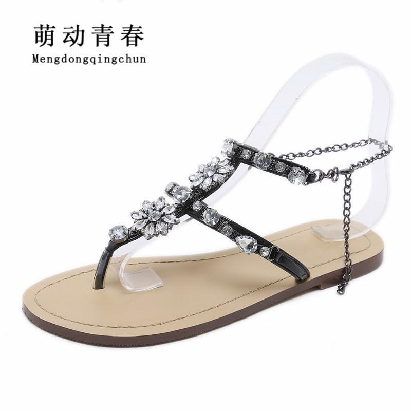 ff4ab9d0a Woman Sandals Women Shoes Rhinestones Chains Thong Gladiator Flat Sandals  Crystal Chaussure Plus Size 46 Tenis