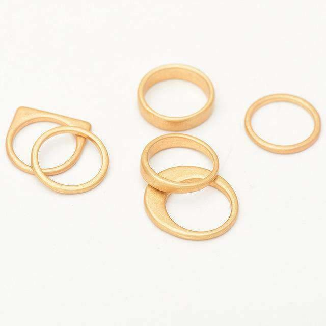 Women 6 Pcs Vintage Gold Zinc Alloy Finger Ring Set Female Gold Silver Plated Retro Plain Knuckle Ring Female Rings Jewelry Gold Jewelry &