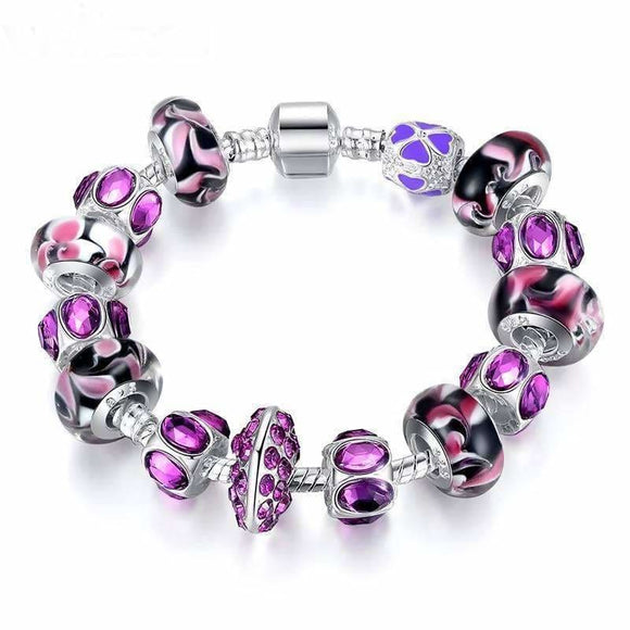Women And Girls With Purple Glass Bead Pandora Bracelet Apparel & Accessories > Jewelry > Bracelets