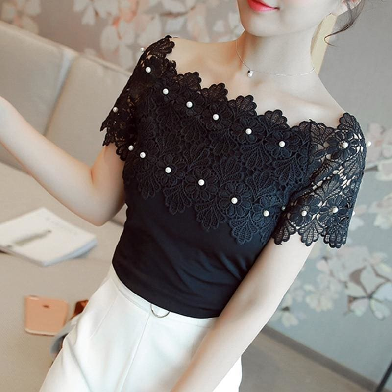 830b9a89072737 Women Lace Patchwork Blouse Shirt Casual Off Shoulder Top Sexy Short Sleeve  White Blouse Ladies Summer Hollow Elegant Blouses - Zodeys