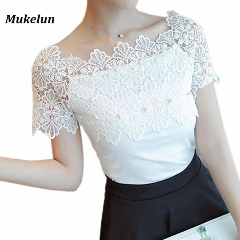6f88731f6dc3ba Women Lace Patchwork Blouse Shirt Casual Off Shoulder Top Sexy Short Sleeve  White Blouse Ladies Summer