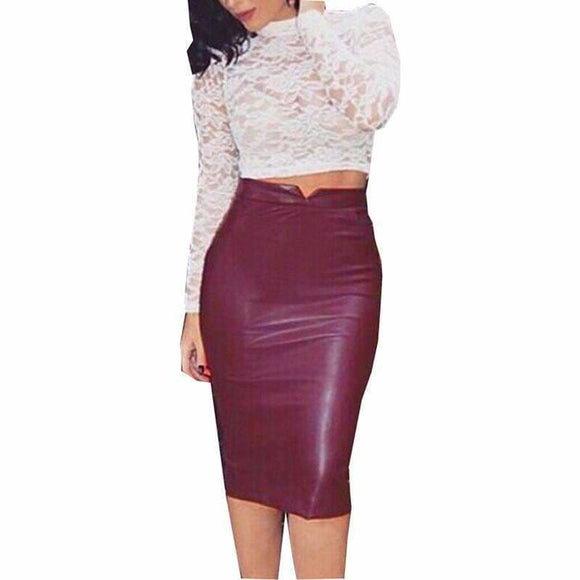 Women Pu Leather Long Skirt Solid Color High Waist Slim Hip Pencil Skirts Vintage Bodycon Skirt Sexy Clubwear Iu861775 Apparel & Accessories