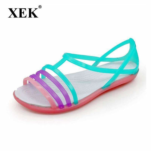 Women Sandals Summer New Candy Color Women Shoes Peep Toe Stappy Beach Valentine Rainbow Croc Jelly Shoes Woman Flats St235 Fashion Popular