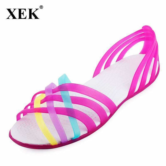 Women Sandals Summer New Candy Color Women Shoes Peep Toe Stappy Beach Valentine Rainbow Croc Jelly Shoes Woman Flats Xc34 Fashion Popular