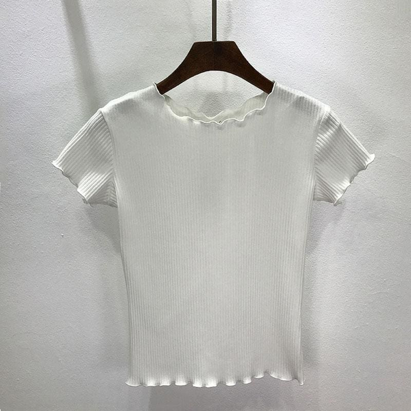 f808629fb5d Women Tees Ruffled Trimmings Ribbed Crop Tops Soft & Stretchy Short Sleeve  T-Shirts Basic