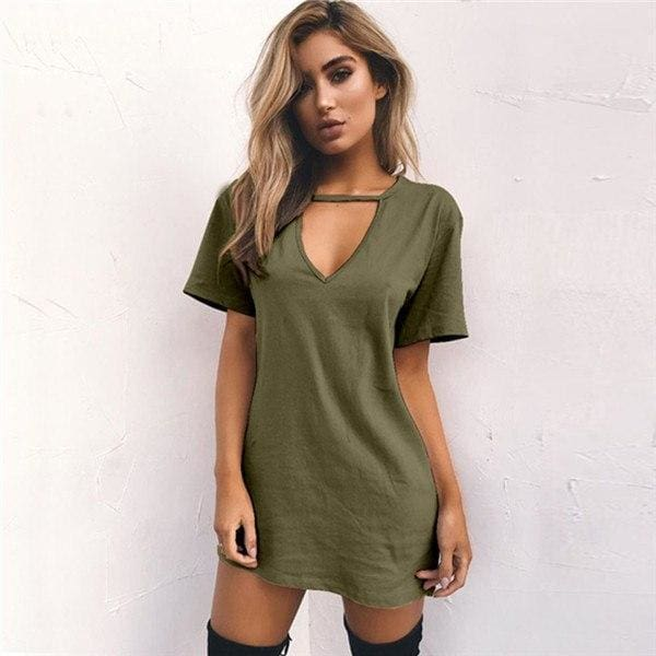 670b2cbde56a Women Tshirt Dress Choker V-Neck Summer Dresses Short Sleeve Casual Sexy  Halter Loose Boho Beach Dress Vestidos Plus Size Yellow Gray White