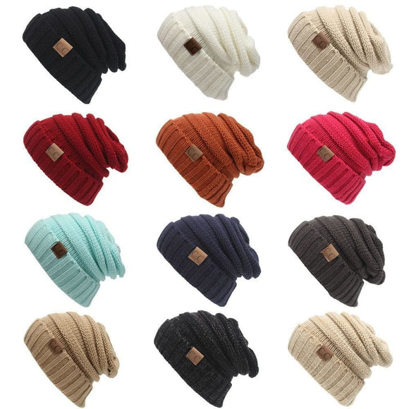 Women Winter Knitted Wool Cap Cc Beanies Unisex Casual Hats & Caps Men Solid Color Hip-Hop Skullies Beanie Warm Hat Beige White Blue Zodeys