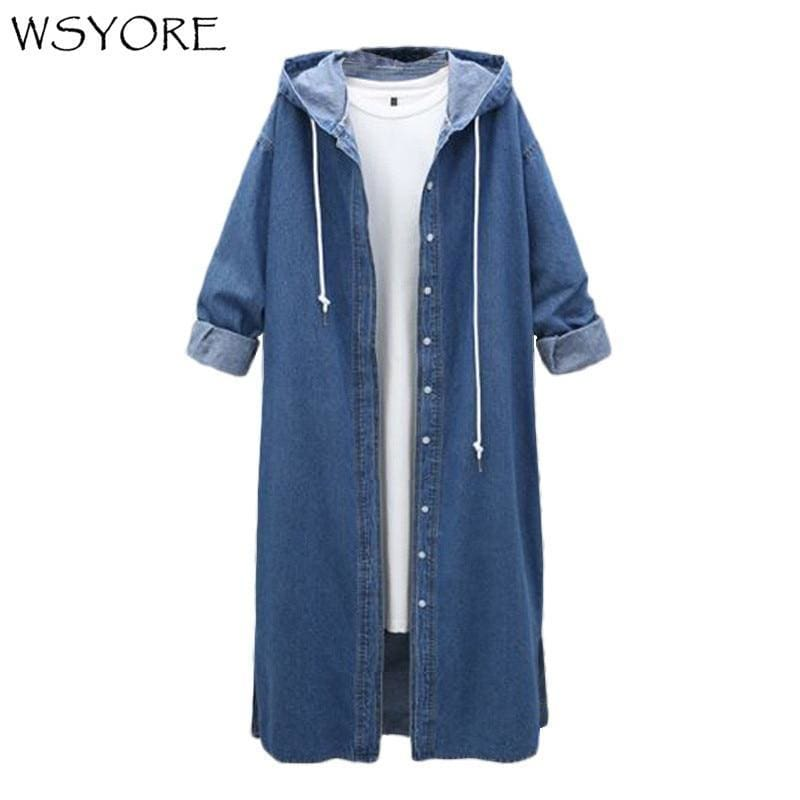 be5124b0cbc Wsyore Women Long Hooded Trench Plus Size Autumn Winter Long-Sleeve Trench  Coat Female Long