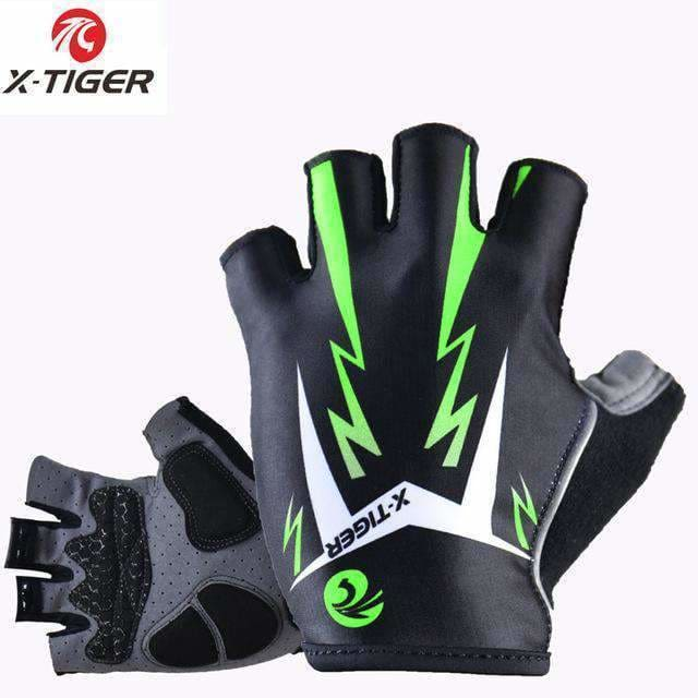 X-Tiger 3D Gel Pad Bright Green Sport Gloves With Reflective Half Finger Mtb Bike Gloves Cycling Gloves Mountain Bicycle Gloves As Picture /