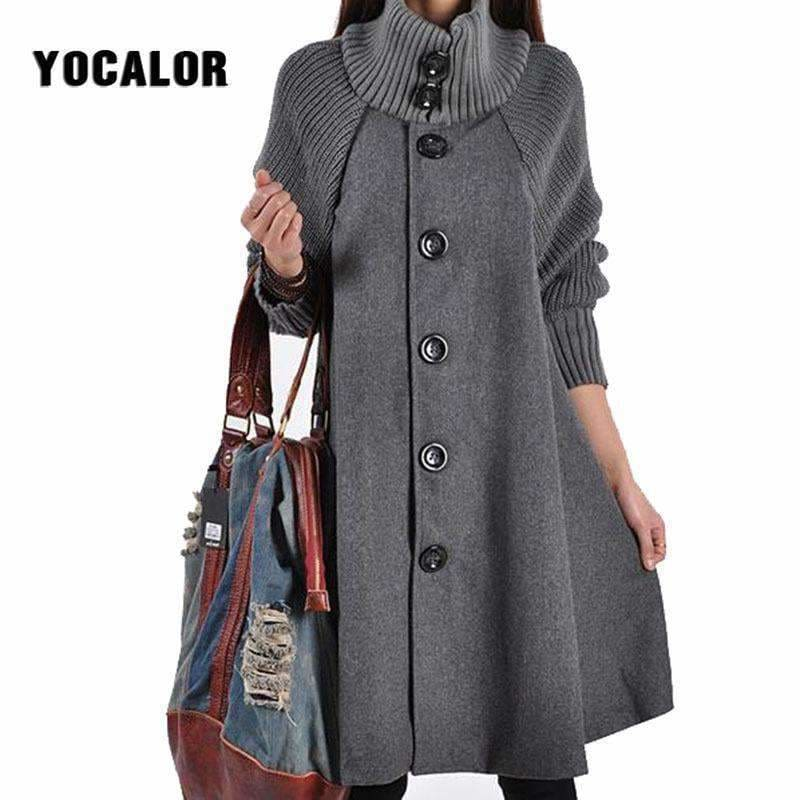 1d77832419a Yocalor Long Female Jacket Overcoat Cloak Windbreaker Loose Winter Wool Coat  Women Autumn Manteau Femme Hiver