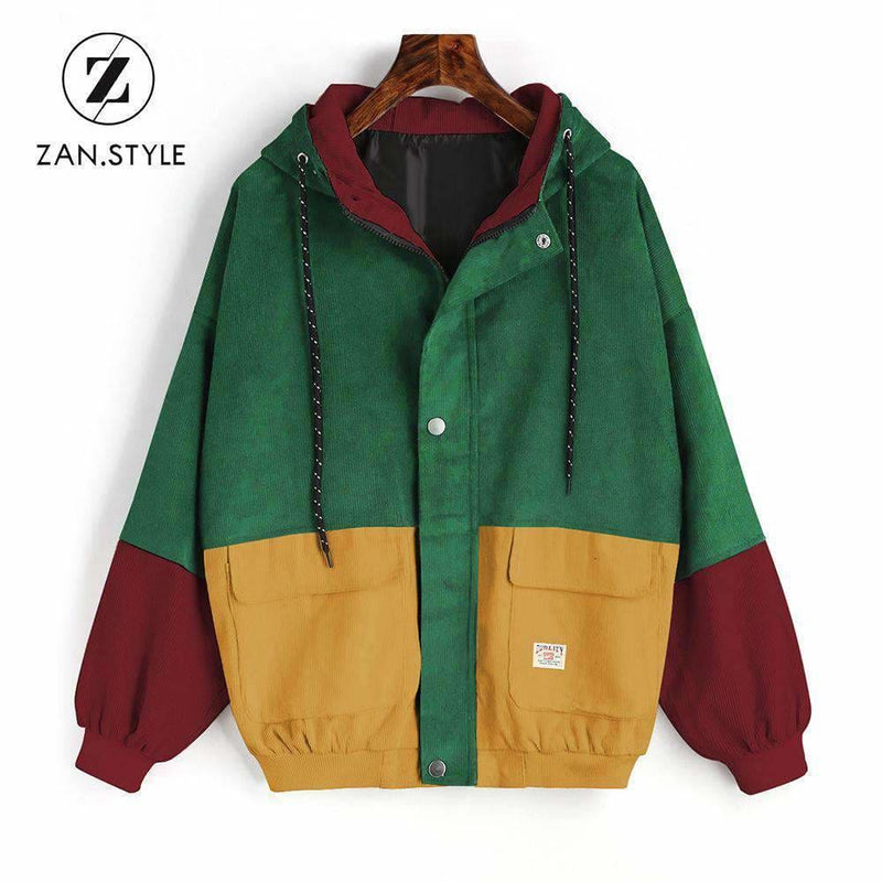 a7d5362574d Zan.style Winter Warm Color Block Hooded Corduroy Jacket Drawstring Hit  Color Patched Pocket Thick