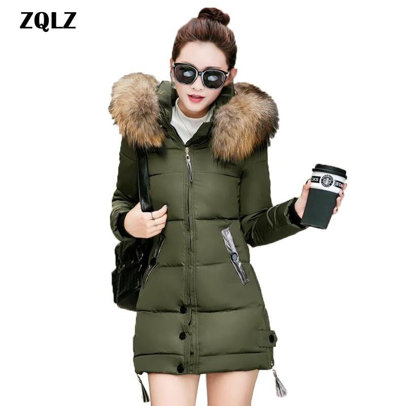 8a42c7483b5a0 Zqlz Plus Size 4xl Winter Jacket Women 2018 Hooded Cotton Overcoat Faux Fur  Collar Casual Warm