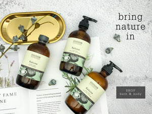 natural body lotions, hand soaps, bubble bath