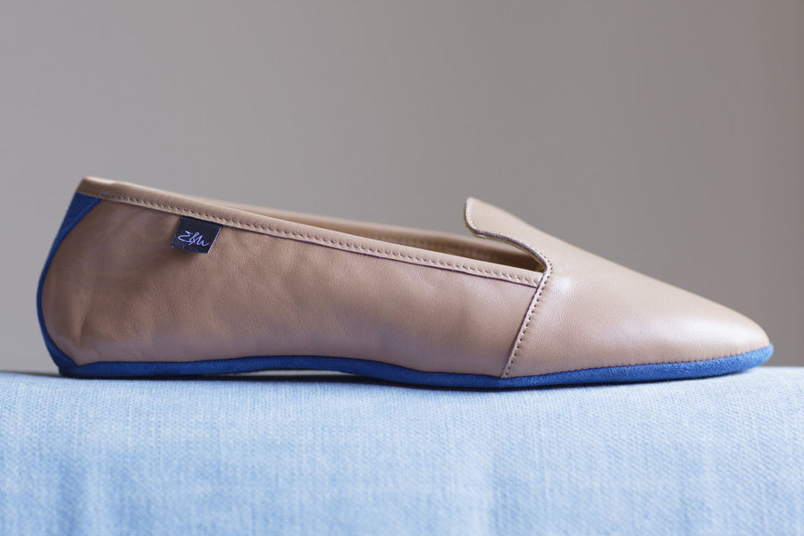 Montaigne Nude Lambskin Leather loafers
