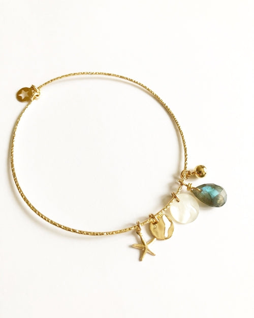 Labrodite and Gold Monica Bracelet