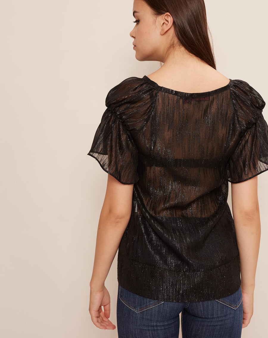 Madras Lurex Black Blouse