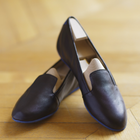 Montaigne Black Lambskin Leather loafers