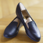 Montaigne Navy Lambskin Leather loafers