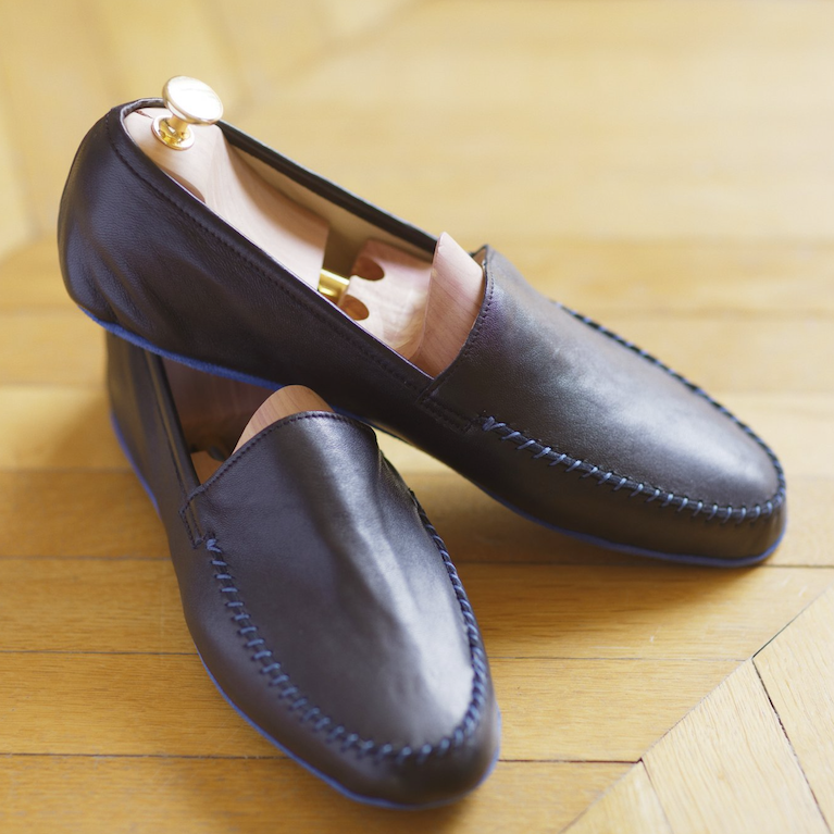 Iconic Black Lambskin Leather loafers