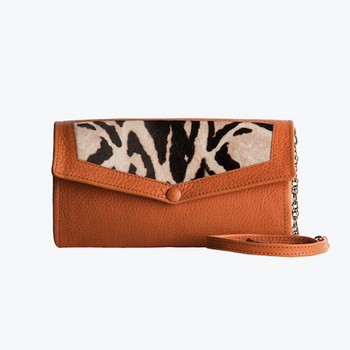 Palma Camel Leather Clutch