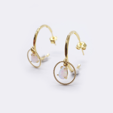 Opal Gold Hoop Earrings