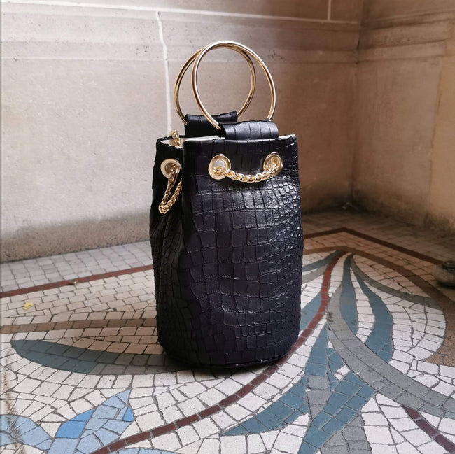 Black Croco Leather Bucket Bag