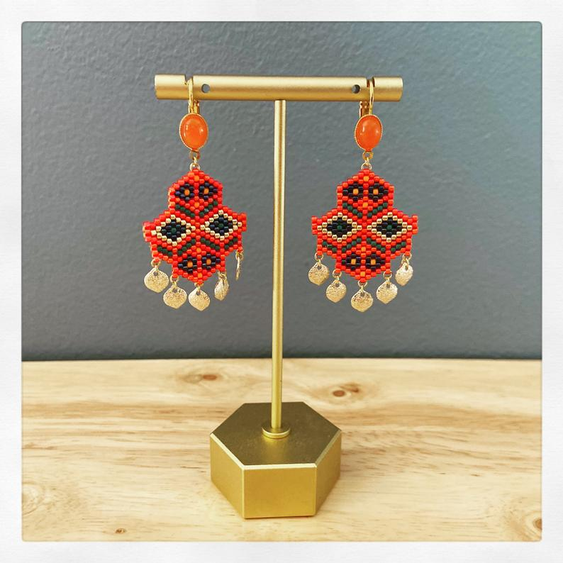 Frida Miyuki Orange Jade Earrings