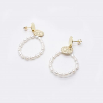 Kate Pearl Hoop Earrings