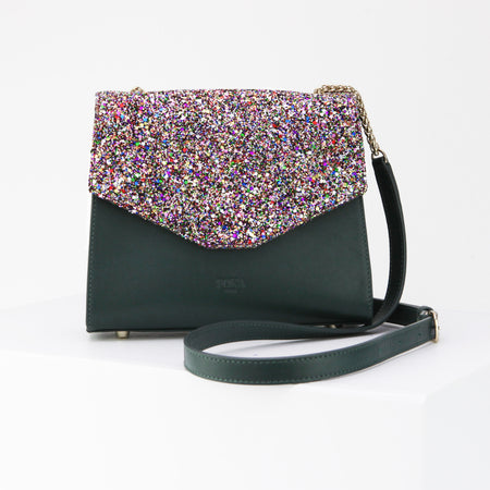 Saint Martin Imperial Green and Multicolor Glitter Bag