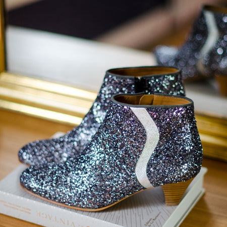 Victoria Leather Glitter Boots
