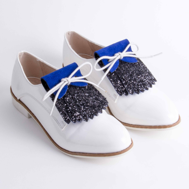 Black Glitter and Blue Shoe Fringes