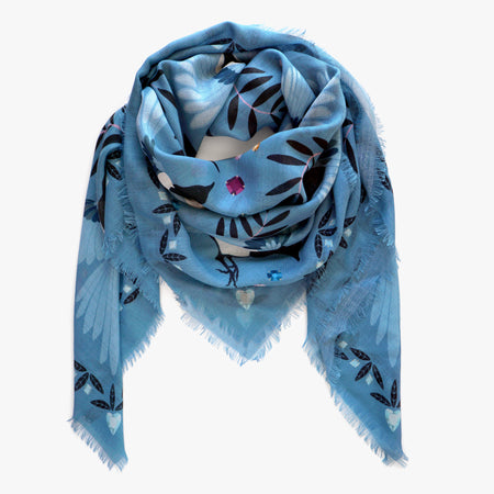 Winter Blue Cashmere & Silk Scarf