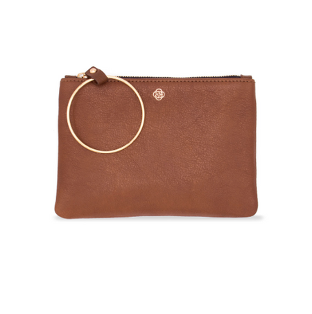 Lucette Leather Cognac Clutch