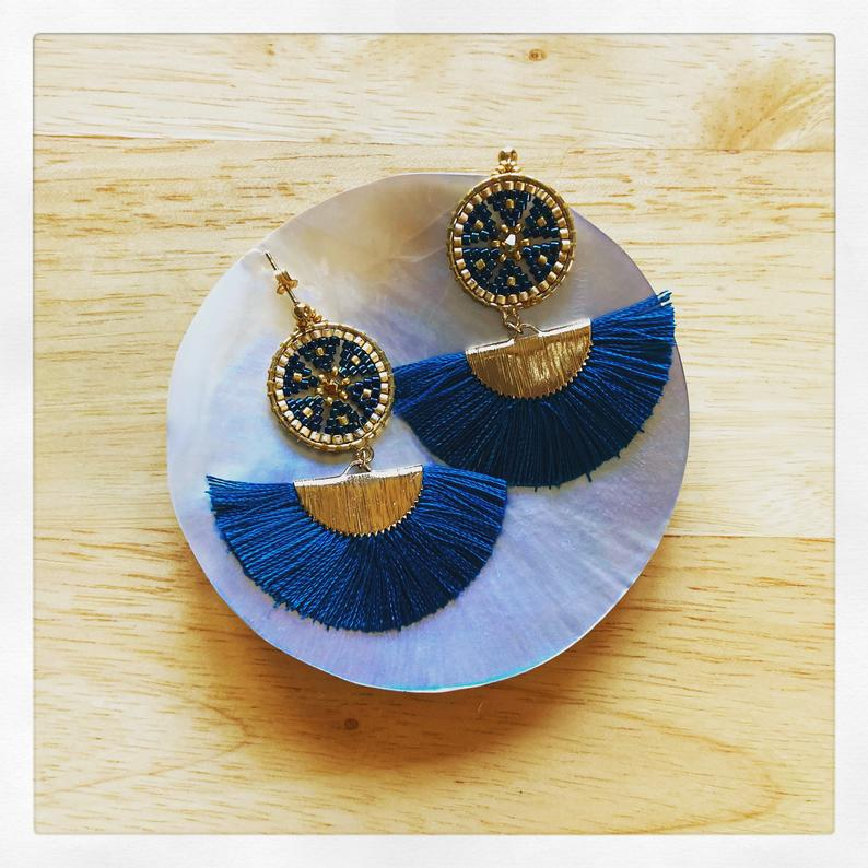 Mariam Teal Tassel earrings