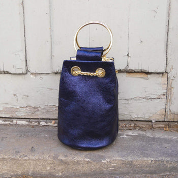 Navy Leather Bucket Bag