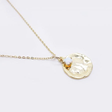 Gold Opal Medal Necklace
