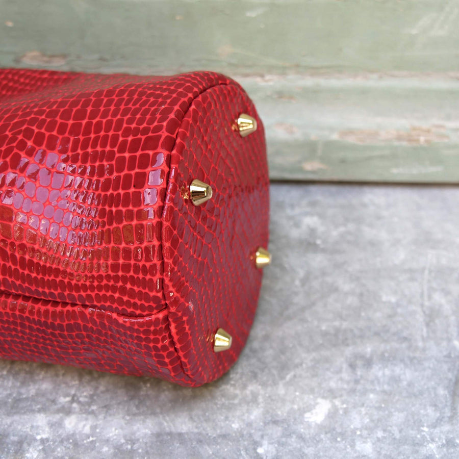 Red Croco Leather Bucket Bag