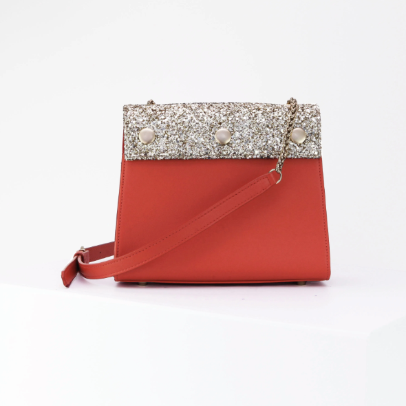 Saint Martin Red and Gold Glitter Bag