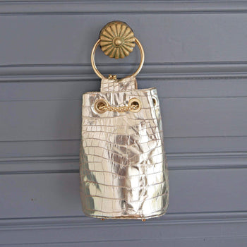 Champagne Croco Leather Bucket Bag