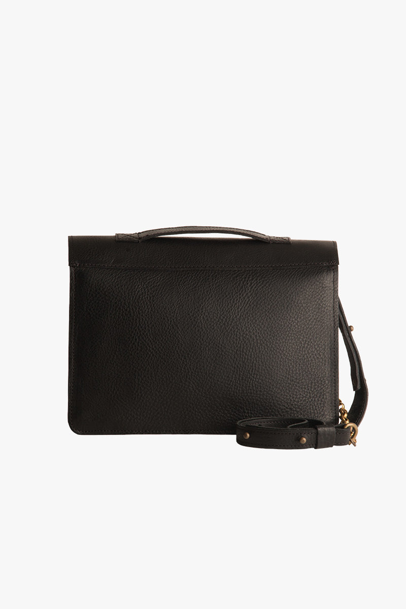 Faro Black Leather Satchel