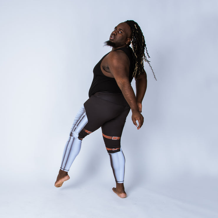 Plus size leggings based on German Gothic armor