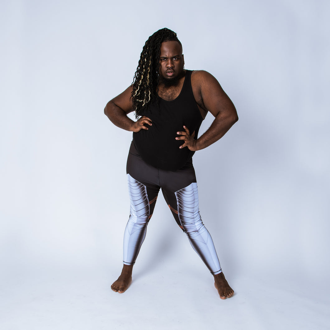 Printed plus size leggings based on German Gothic armor,