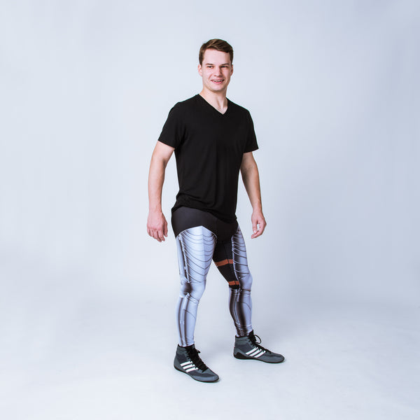 Printed men's leggings based on German Gothic armor,
