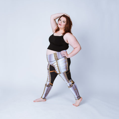Printed plus size leggings based on the field armor of Sir James Scudamore