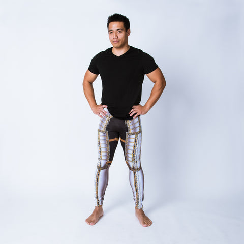 Printed men's leggings based on the field armor of Sir James Scudamore